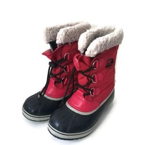 SOREL winter boots boys red leather sz 5